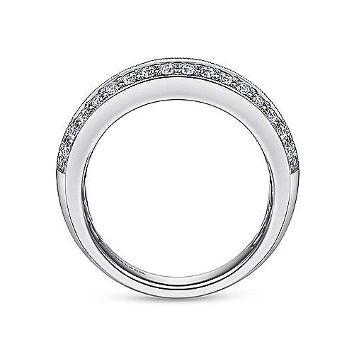 3 Row 14K White Gold Prong Channel Diamond Anniversary Band with Millgrain
