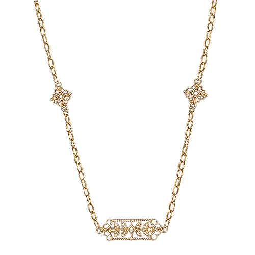 30inch 18K Yellow Gold Diamond Station Necklace angle 1