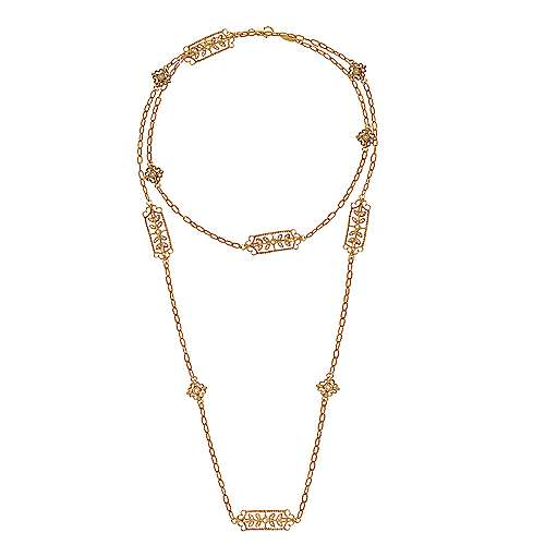 30inch 18K Yellow Gold Diamond Station Necklace angle 2