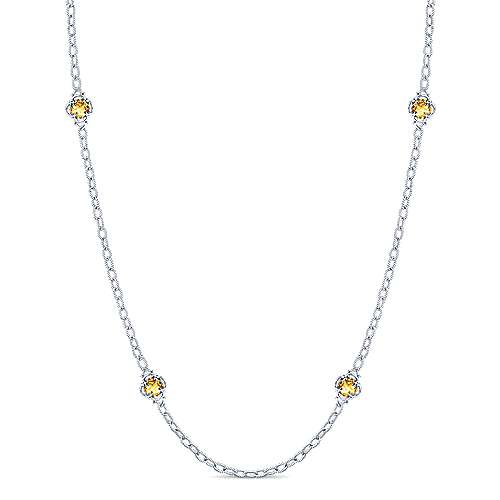 32 Inch 925 Silver Citrine Station Necklace