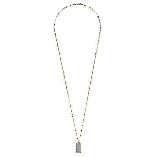 32 inch 14K Yellow Gold Diamond Pave' Dog Tag Necklace