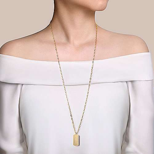 32 inch 14K Yellow Gold ID Pendant Necklace