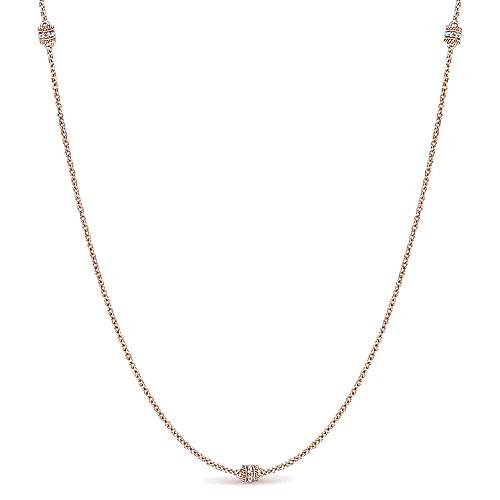 Gabriel - 32inch 14K Rose Gold Diamond Station Necklace