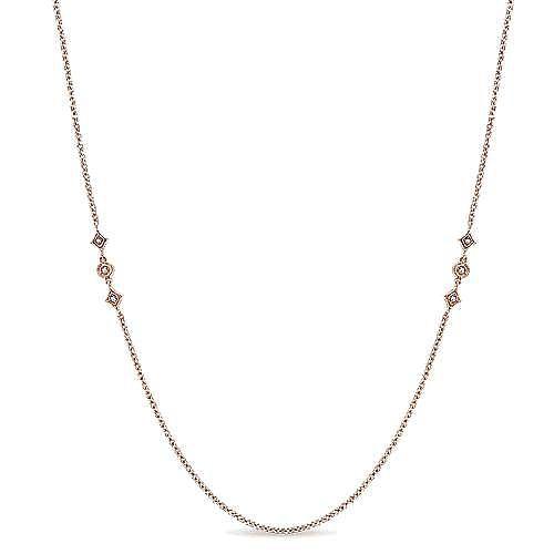 Gabriel - 32inch 14K Rose Gold Diamond Station Necklace