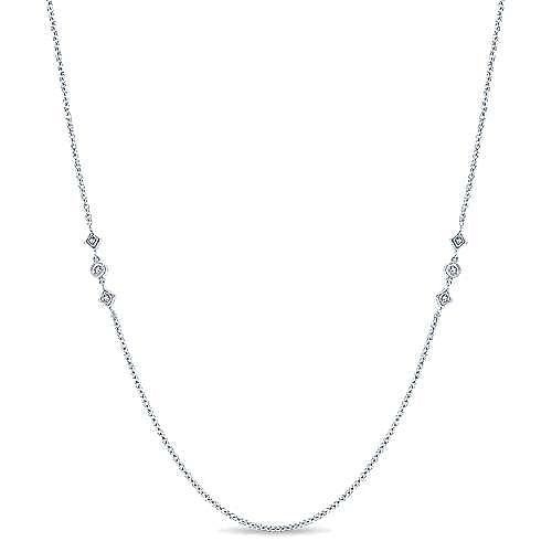 32inch 14K White Gold Diamond Station Necklace angle 1