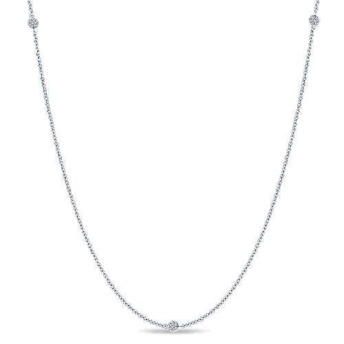 32inch 14K White Gold Diamond Station Necklace angle 1