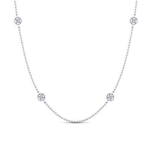 Gabriel - 32inch 14K White Gold Diamond Station Necklace