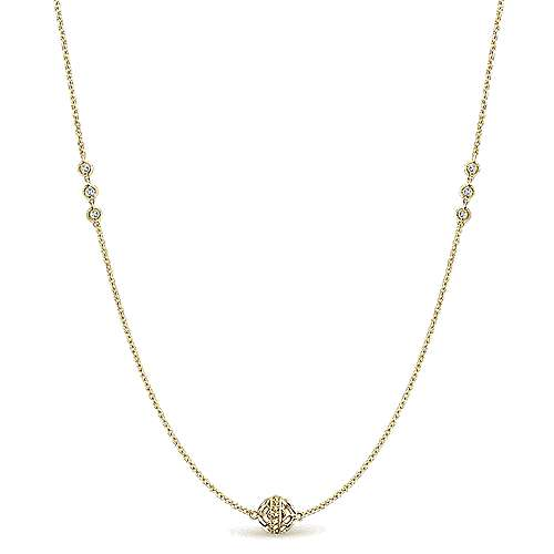 Gabriel - 32inch 14K Yellow Gold Diamond Station Necklace