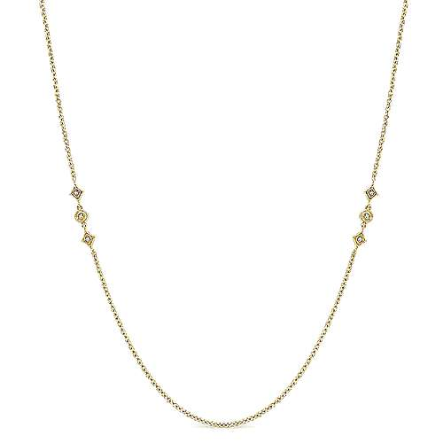 32inch 14K Yellow Gold Diamond Station Necklace angle 1