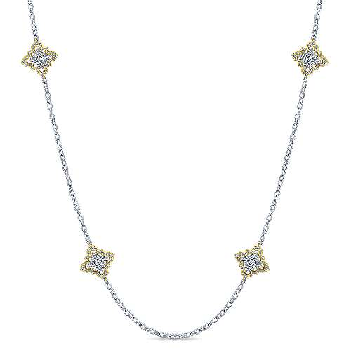 32inch 14k Yellow/White Gold Diamond Station Necklace