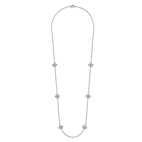 32inch 18K Yellow Gold Diamond Station Necklace angle 2