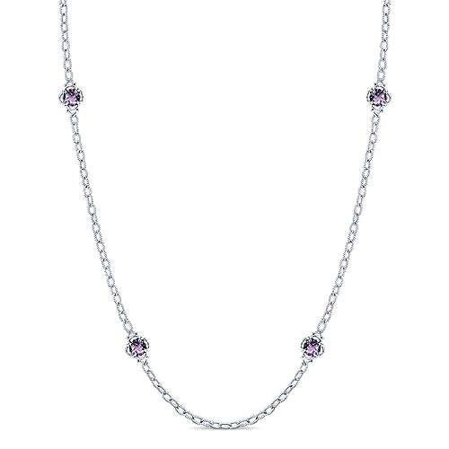 32inch 925 Silver Amethyst Station Necklace angle 1