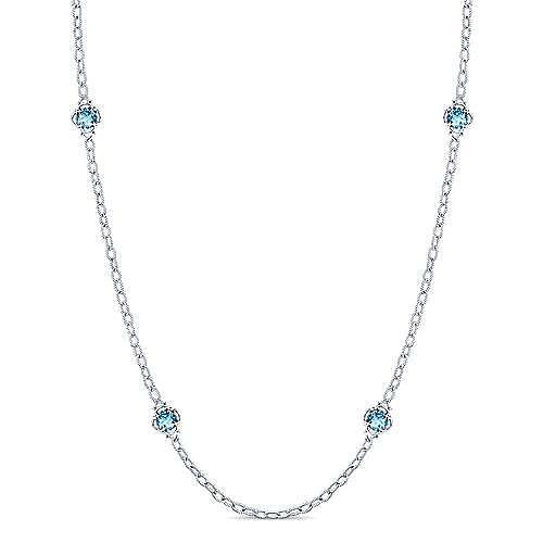 32inch 925 Silver Blue Topaz Station Necklace angle 1