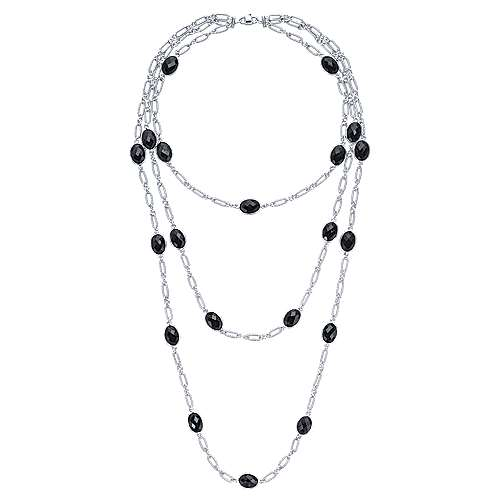 32inch 925 Silver Onyx Station Necklace angle 2