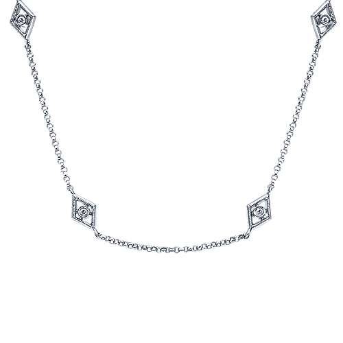 36inch 14K White Gold Diamond Station Necklace angle 1