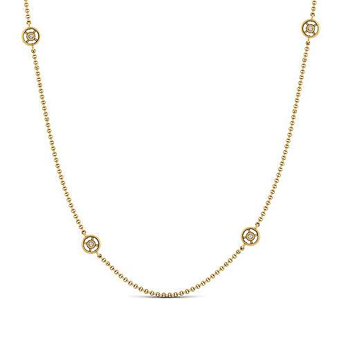 36inch 14K Yellow Gold Diamond Station Necklace angle 1