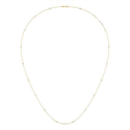 36inch 14K Yellow Gold Diamond Station Necklace angle 2