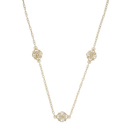 Gabriel - 36inch 18K Yellow Gold Diamond Station Necklace