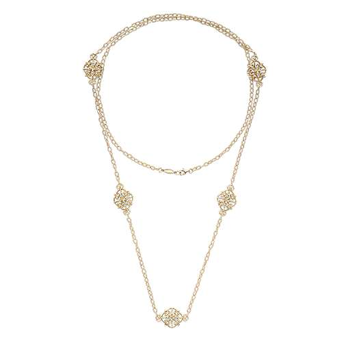 36inch 18K Yellow Gold Diamond Station Necklace angle 2