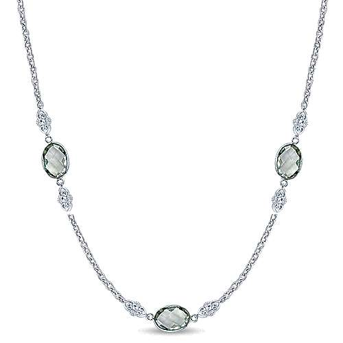 36inch 925 Silver Garnet Station Necklace angle 1