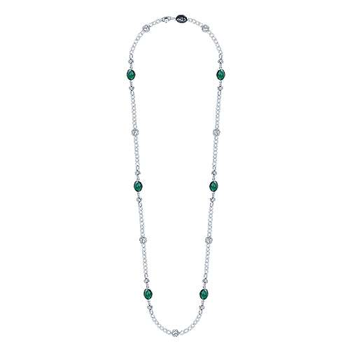 36inch 925 Silver Green Onyx Station Necklace angle 2