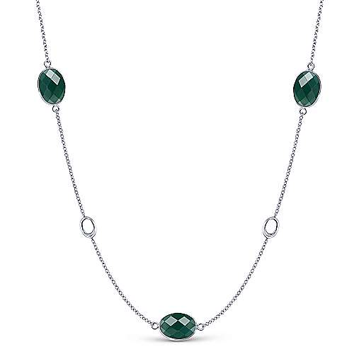 Gabriel - 36inch 925 Silver Green Onyx Station Necklace