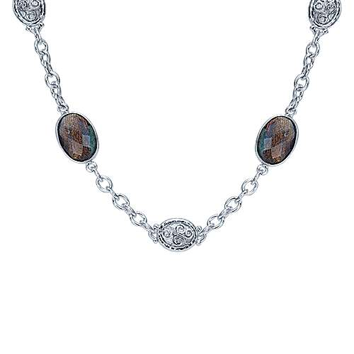 36inch 925 Silver Labradorite Station Necklace angle 1