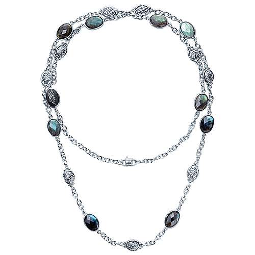 36inch 925 Silver Labradorite Station Necklace angle 2