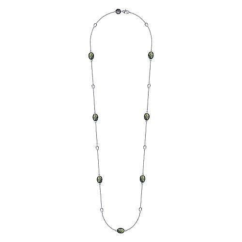 36inch 925 Silver Labradorite Station Necklace angle 2