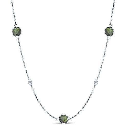 Gabriel - 36inch 925 Silver Labradorite Station Necklace