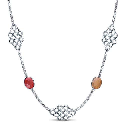 36inch 925 Silver Multi Color Station Necklace