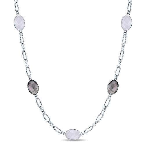 Gabriel - 36inch 925 Silver Multi Color Station Necklace