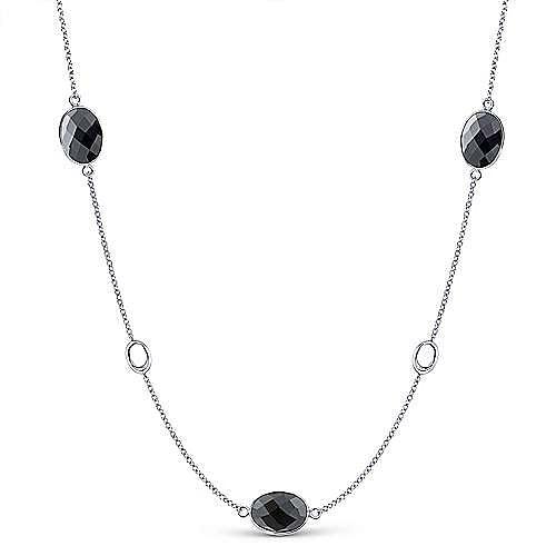 Gabriel - 36inch 925 Silver Onyx Station Necklace