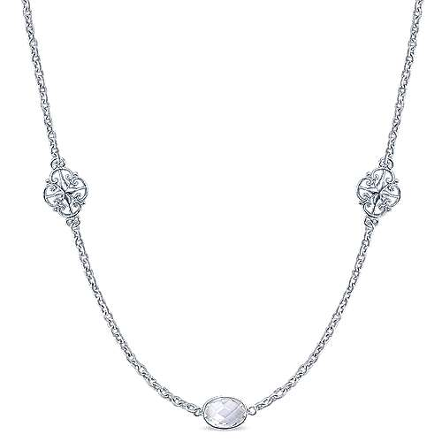 36inch 925 Silver Rock Crystal Station Necklace angle 1