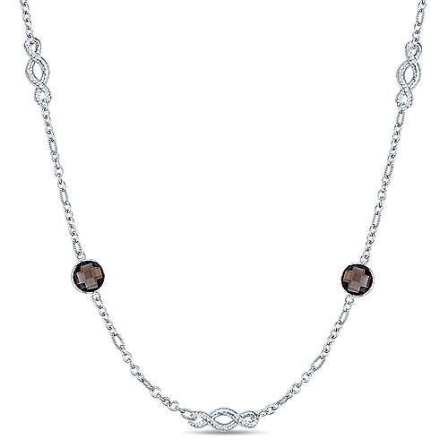 36inch 925 Silver Smokey Quartz Station Necklace