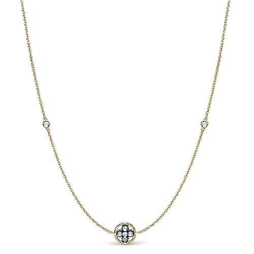 36inch 925 Silver White Topaz Station Necklace angle 1