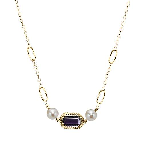 37inch 14K Yellow Gold Multi Color Station Necklace angle 1