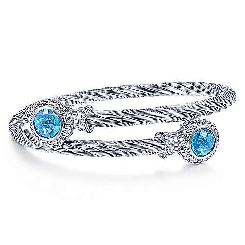 Gabriel - 925 Silver & Stainless Steel Blue Topaz Bangle