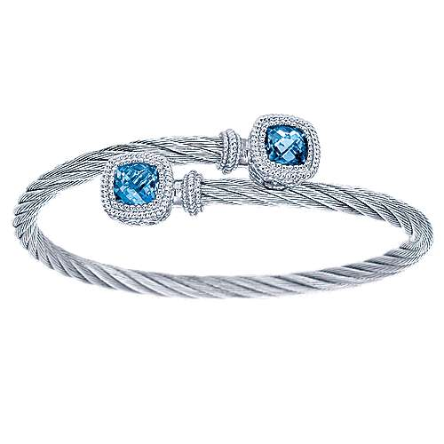 925 Silver & Stainless Steel Blue Topaz Bangle