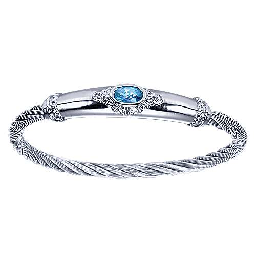 Gabriel - 925 Silver & Stainless Steel Diamond & Blue Topaz Bangle