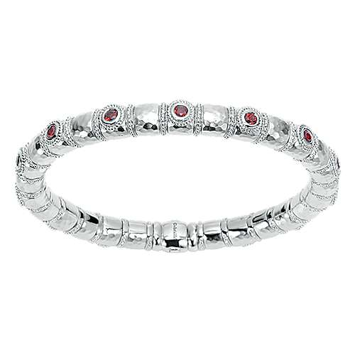 925 Silver & Stainless Steel Garnet Bangle