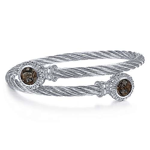 Gabriel - 925 Silver & Stainless Steel Smokey Quartz Bangle
