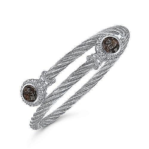 925 Silver & Stainless Steel Smokey Quartz Bangle