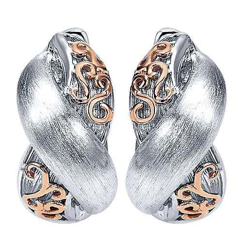 Gabriel - 925 Silver And 18k Rose Gold Huggies Huggie Earrings