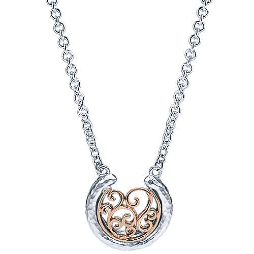 Gabriel - 925 Silver And 18k Rose Gold Mediterranean Fashion Necklace