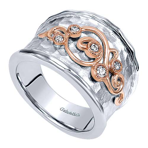925 Silver And 18k Rose Gold Souviens Wide Band Ladies' Ring angle 3