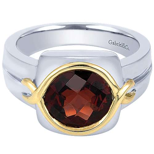 925 Silver And 18k Yellow Gold Color Solitaire Fashion Ladies' Ring angle 1