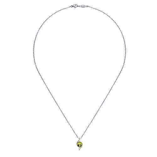 925 Silver And 18k Yellow Gold Color Solitaire Fashion Necklace angle 2