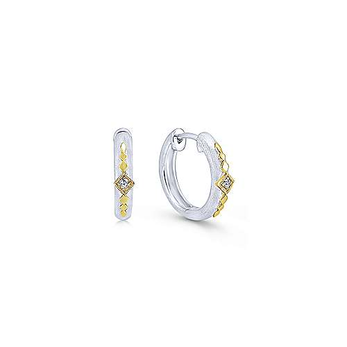 925 Silver And 18k Yellow Gold Contemporary Huggie Earrings