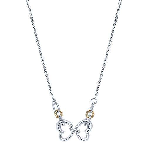 925 Silver And 18k Yellow Gold Eternal Love Heart Necklace angle 1